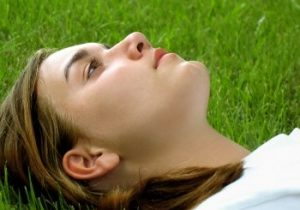 looking up in the grass